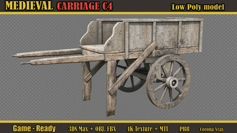 Medieval Carriage C4 (Lowpoly)