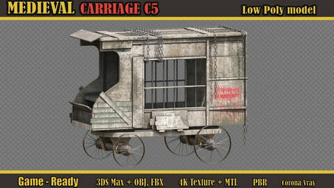 Medieval Carriage C5 (Lowpoly)