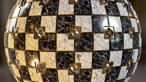 PBR - SMALL MARBLE TILES WITH METALLIC INLAYS - 4K MATERIAL