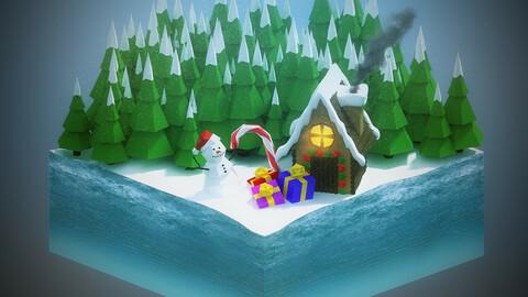 Low Poly Christmas Scene