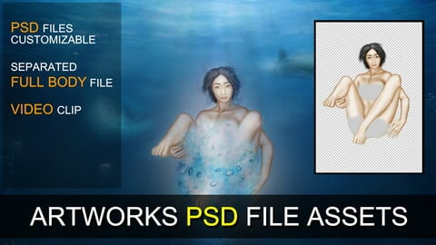 PSD SOURCES for CUSTOMIZATION - Girl in Underwater