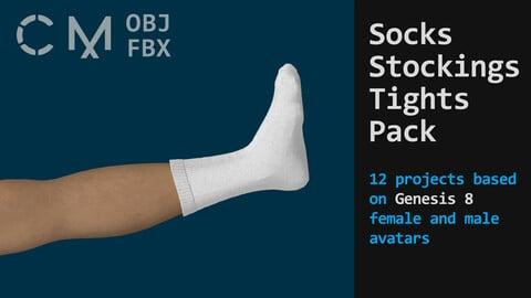 Socks pack (stockings, tights, leggings). Marvelous / Clo 3D / zprj obj fbx