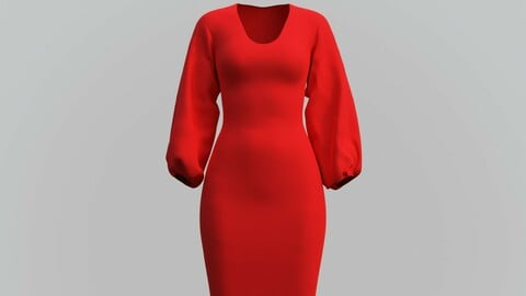 3D Female gown - Red dress