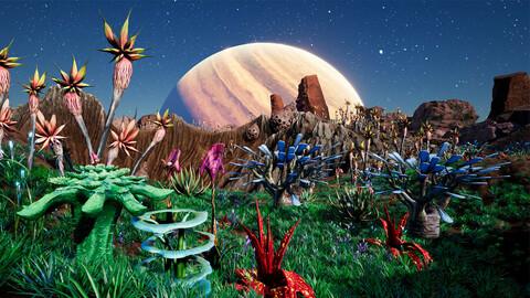 Alien Planet Fantasy Environment - Desert Oasis UE4