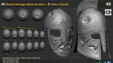 60 Zbrush Damage Metal Brushes + 2 Video Tutorial - Vol 1
