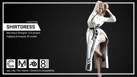 Shirtdress - Marvelous Designer, CLO project.