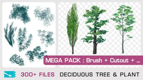 MEGA PACK : DECIDUOUS TREE CUTOUT & PLANT BRUSH - Traditional painting pack - 150+ Brushes / 150+ Cutout & Custom Shapes + 1 bonus PSD