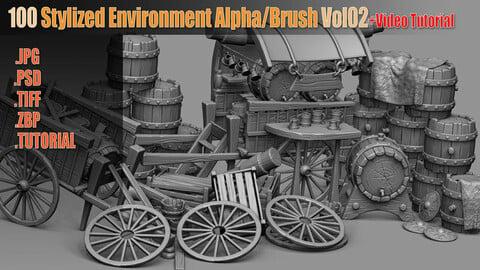 100 Stylized Environment Alpha/Brush Vol02 + Video Tutorial