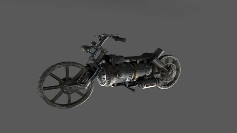 Stylized transport motorcycle PBR low-poly 3D model