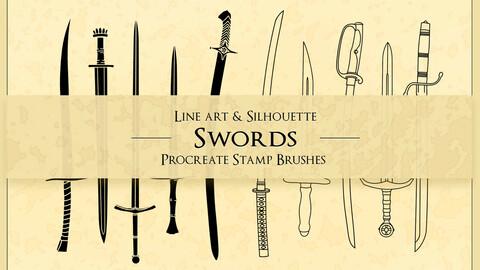 Procreate Brushes   Swords Blades Knives Stamp Brushes