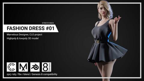 Fashion Dress #1 - Marvelous Designer, CLO project.