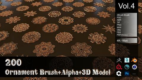 200 Ornament Brush + Alpha + 3D Model Vol4