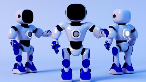 Small robot intelligent robot AI robot cute robot cartoon robot White