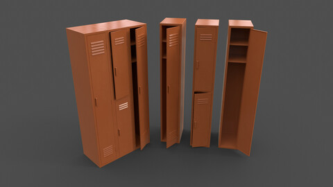 PBR School Gym Locker 04 - Orange