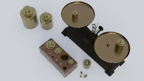 Rigged vintage balance scale with weights
