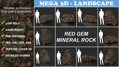 Low Poly Red Gem Mineral Rock 210823