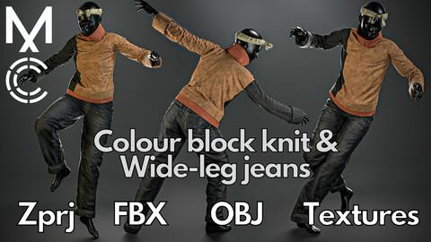 Marvelous Designer + Clo3d + OBJ + FBX + Texture : Colour block knit & wide-leg jeans