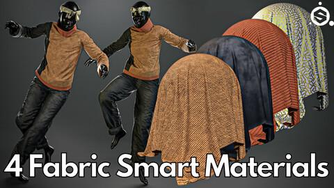 4 Fabric smart material : Colour block knit & wide-leg jeans