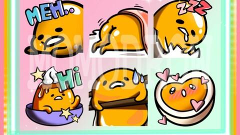 Gudétama emotes - 6 Twitch emotes pack