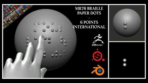 MR78 Braille Paper Dots - 6 Points – International