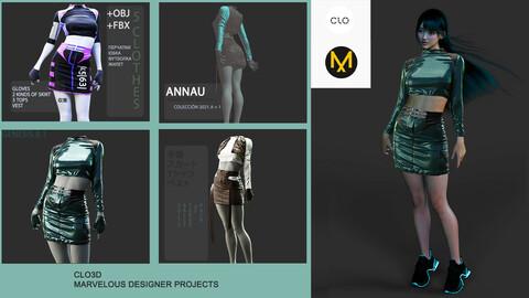 GENESIS 8.1 FEMALE: RACER SET WITH GLOVES AND VEST: CLO3D, MARVELOUS DESIGNER PROJECTS| +OBJ +FBX