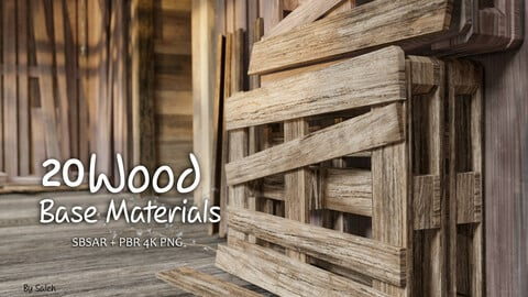 20 Wood Base Materials _ SBSAR + 4K PNG