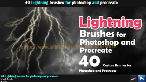40 Lightning  brushes for photoshop and procreate