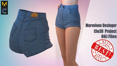 Denim shorts for girls Marvelous Desinger/Clo3D project + OBJ ( detailed item)