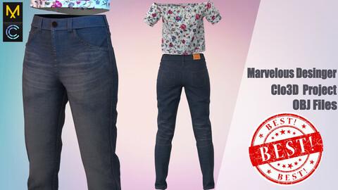 Denim pants for girls Marvelous Desinger/Clo3D Project +OBJ File