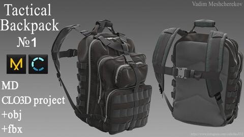 Tactical Backpack №1. Marvelous Designer / Clo 3D project +obj/fbx