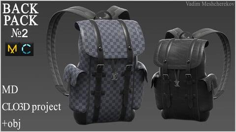 Backpack №2. Marvelous Designer / Clo 3D project +obj