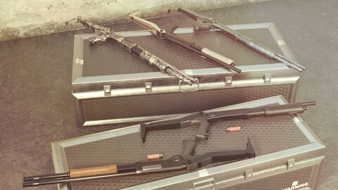 CM352 Shotgun Game Ready 5 Textures Low-poly 3D model