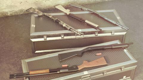 CM350 Shotgun Game Ready 5 Textures Low-poly 3D model
