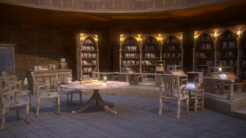 Medieval Library Model Pack Antique