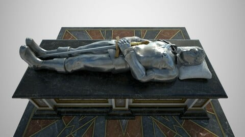 Tomb of a heroic soldier with silver statue