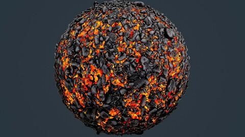 Stylized Lava Seamless PBR Texture 03