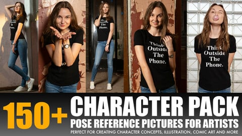 """Photo/Textures Reference Pack: 150+ Character Pose Reference Pictures """"Young Women (Model) Posing with Bubble Gum"""""""