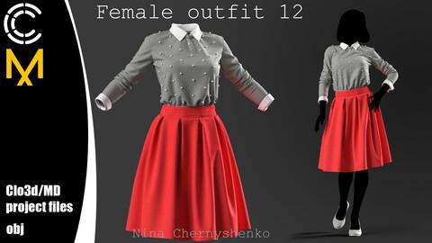 Female outfit 12. Marvelous Designer/Clo3d project + OBJ.