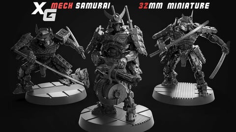 Mech Samurai 3D Printable (32mm)