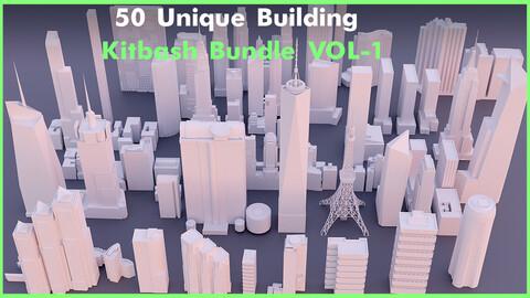50 Unique Building Kitbash Bundle VOL-1