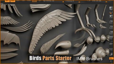 Birds Parts Pack - 36 IMM /Curve Brushes -ZBrush