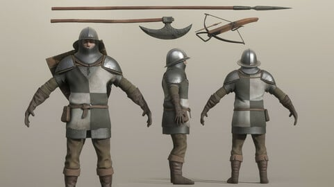 🟥 Lowpoly Medieval Soldier Weapon and Armor Pack