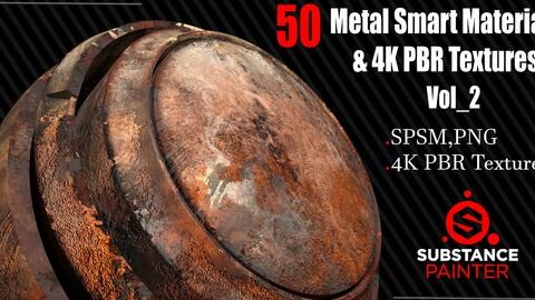 50 Metal Smart Materials + 4KPBR Textures