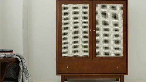Kinhome rattan solid wood multi-purpose high storage cabinet