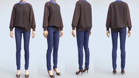 Female casual winter outfit - oversized sweater shirt and denim jeans 3D model