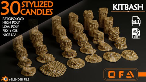 30 Stylized Candel KITBASH (HighPoly + LowPoly + Blender File)