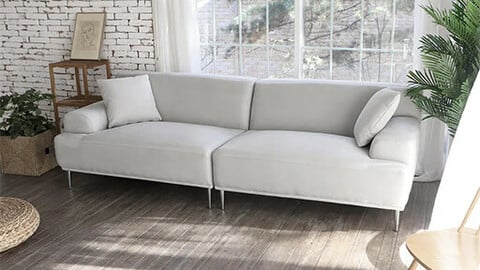 Evelyn Functional Waterproof Fabric Aqua Suede 3.5 Seater Sofa