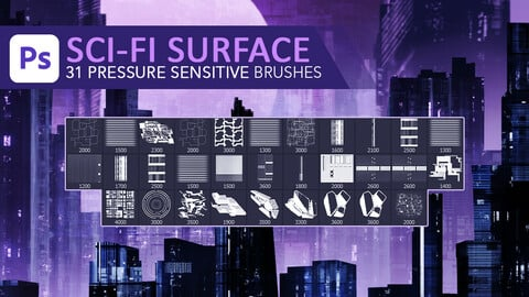 31 futuristic sci-fi buildings and mechanical parts surface texturing pressure sensitive photoshop brush set for graphic tablets.