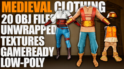 Medieval Clothing (Meshes, Textures, Low-Poly)