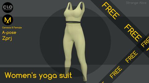 Free women's yoga suit. Clo3d, Marvelous Designer projects.